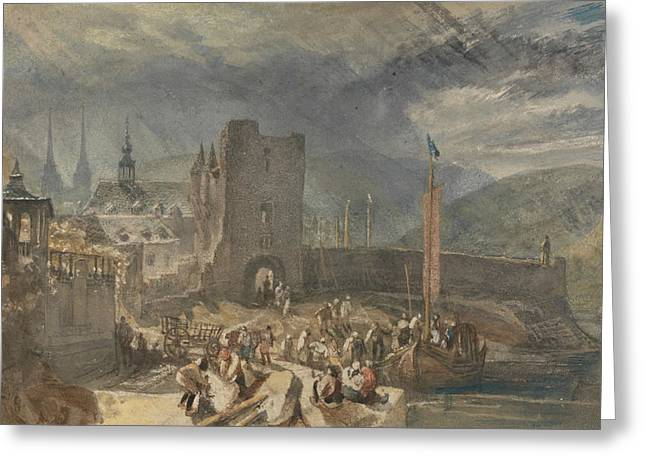 A View Of Boppart, With Figures On The River Bank Greeting Card by Joseph Mallord William Turner