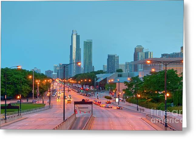 A View Of Columbus Drive In Chicago Greeting Card