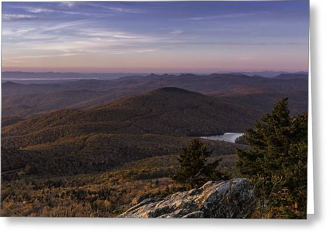 Greeting Card featuring the photograph A View Of Grandmother Mountain And Lake by Ken Barrett