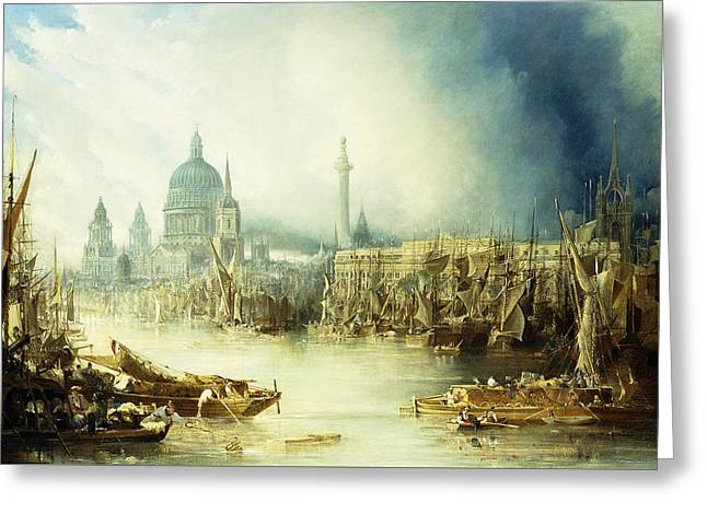 A View Of London Greeting Card by John Gendall