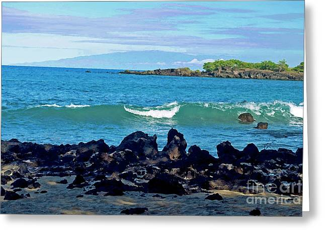 A View Of Maui From Wailea Bay Greeting Card