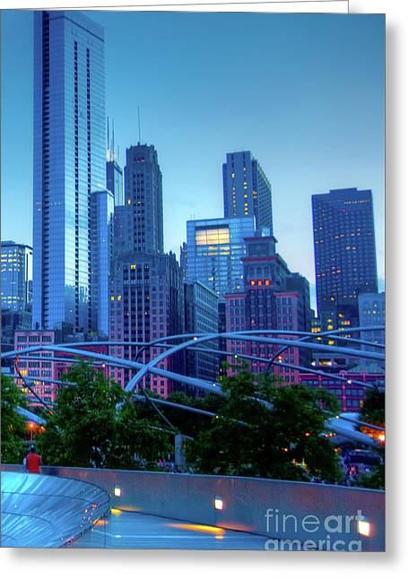 A View Of Millenium Park From The Amoco Bridge In Chicago At Dus Greeting Card