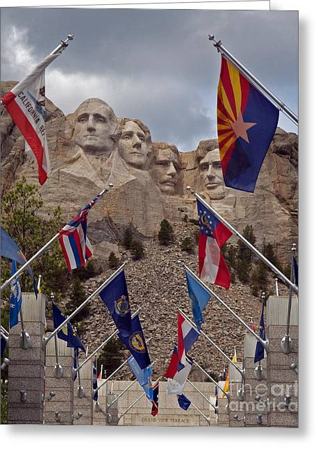 A View Of Mt. Rushmore Greeting Card by Robert Pilkington