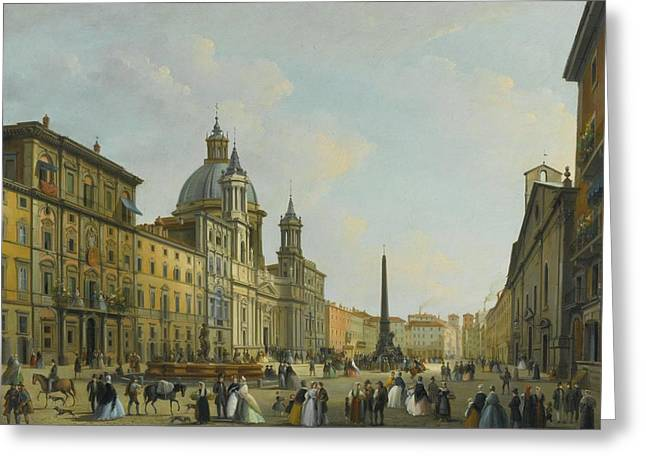 A View Of Piazza Navona With Elegantly Dressed Figures Greeting Card by Giuseppe Bernardino