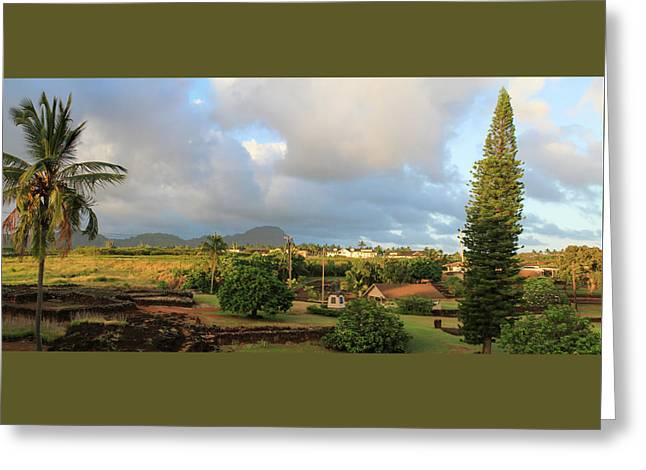 A View Of Prince Kuhio Park Greeting Card by Bonnie Follett