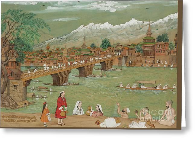 A View Of Srinagar, 1872 Greeting Card by Bishan Singh