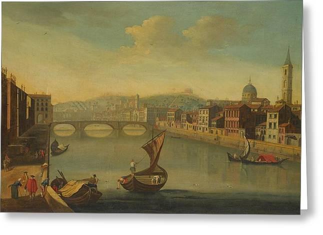 a View Of The Arno Towards The Bridge Of Santa Trinita Greeting Card