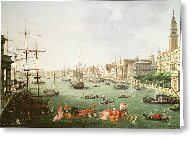 A View Of The Grand Canal Greeting Card by Vincenzo Chilone