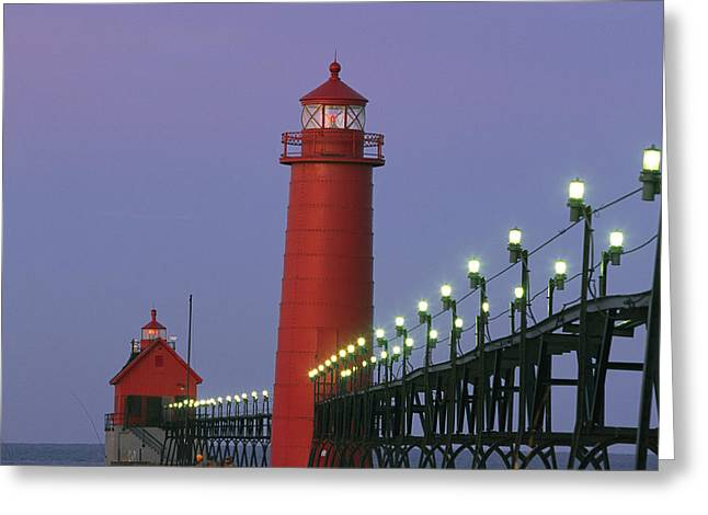 Etc Greeting Cards - A View Of The Grand Haven Lighthouse Greeting Card by Ira Block
