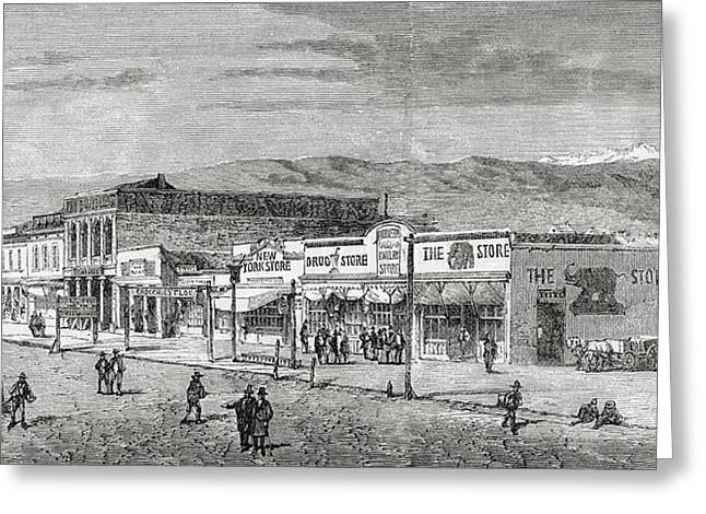 A View Of The Main Street, Salt Lake Greeting Card by Vintage Design Pics