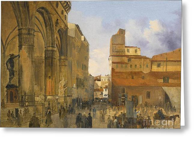 A View Of The Piazza Della Signoria Greeting Card by Celestial Images