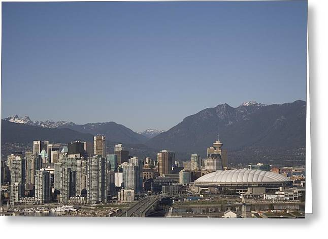 A View Of The Skyline Of Vancouver, Bc Greeting Card by Taylor S. Kennedy