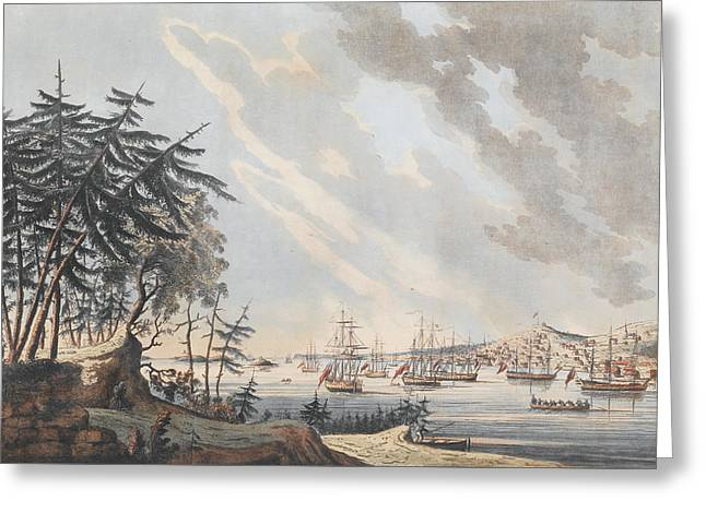 A View Of The Town And Harbour Of Halifax From Dartmouth Shore Greeting Card by Joseph Frederick Wallet DesBarres