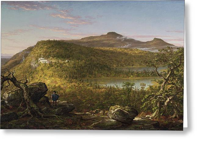 A View Of The Two Lakes And Mountain House, Morning Greeting Card by Thomas Cole