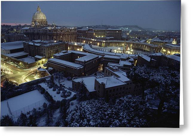 A View Of Vatican City In The Snow.  It Greeting Card
