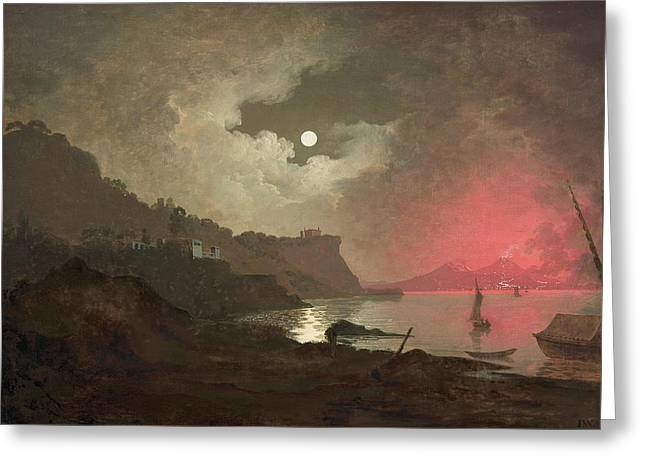 A View Of Vesuvius From Posillipo, Naples Greeting Card by Joseph Wright
