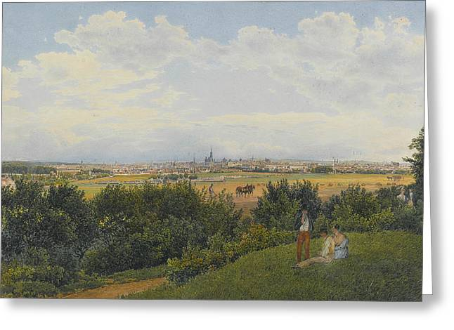 A View Of Vienna From The Prater With Figures In The Foreground Greeting Card