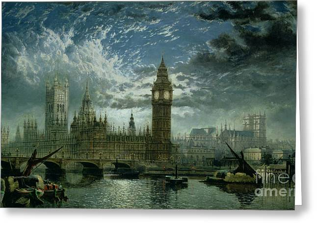 Thames River Greeting Cards - A View of Westminster Abbey and the Houses of Parliament Greeting Card by John MacVicar Anderson