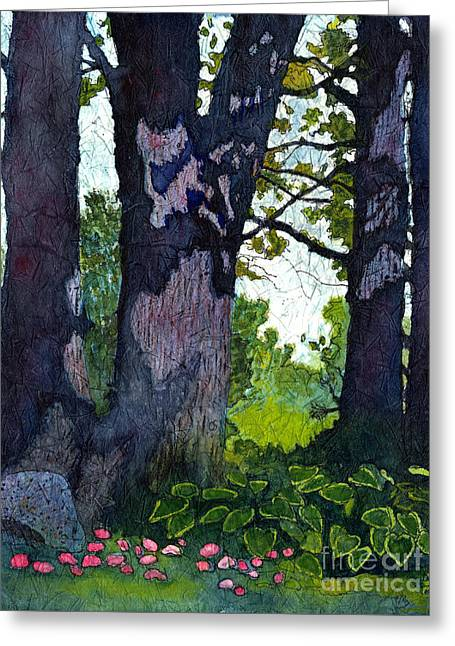 A View Through The Trees Watercolor Batik Greeting Card
