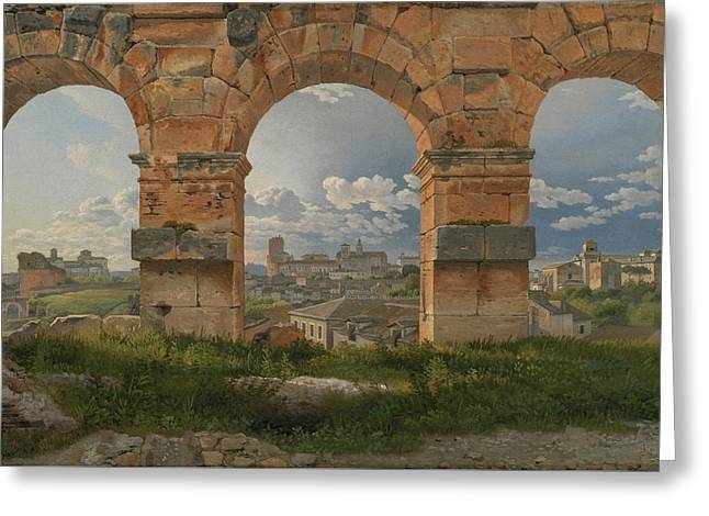 A View Through Three Arches Of The Third Storey Of The Colosseum Greeting Card by Christoffer Wilhelm Eckersberg