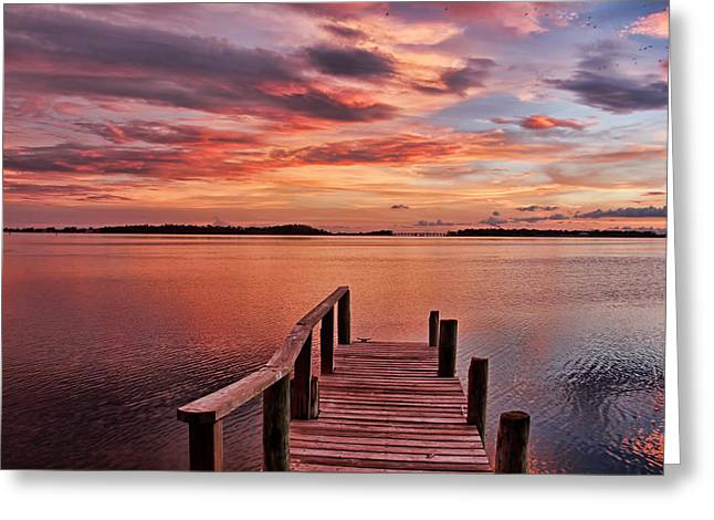 A View To The Bay - Sunset Clouds Greeting Card