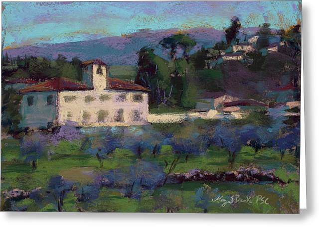 A View To Tuscany Greeting Card by Mary Benke
