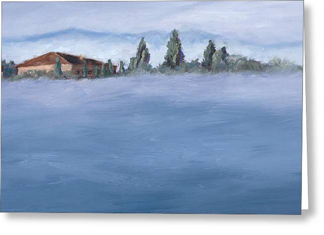 A Villa In The Mist Greeting Card by Mary Giacomini