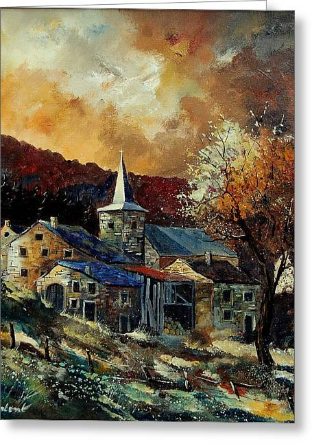 A Village In Autumn Greeting Card by Pol Ledent