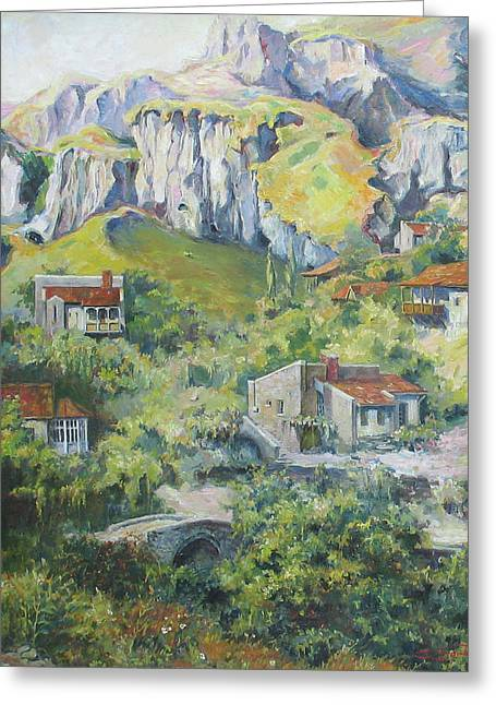A Village Nestled In The Foothills Greeting Card