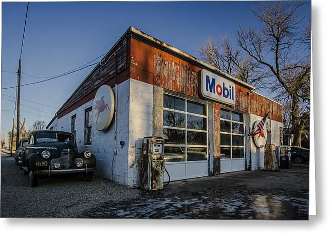 A Vintage Gas Station And Vintage Cars In Early Morning Light Greeting Card by Sven Brogren