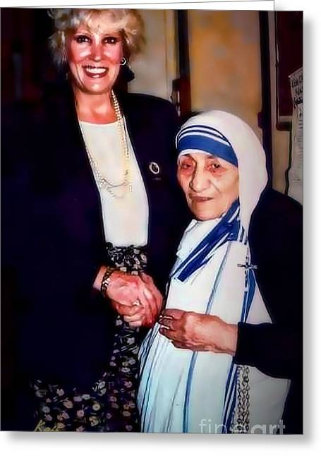 A Vist With Mother Teresa Greeting Card by Kathy Tarochione