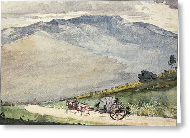A Volante On A Mountain Road Cuba Greeting Card by Winslow Homer