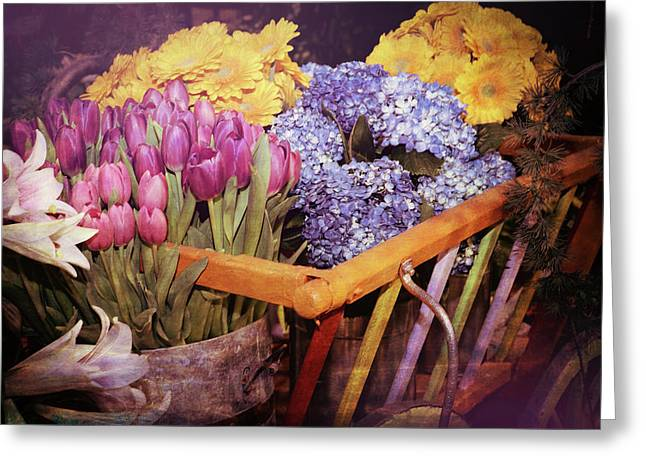 A Wagon Full Of Spring Greeting Card by Patrice Zinck