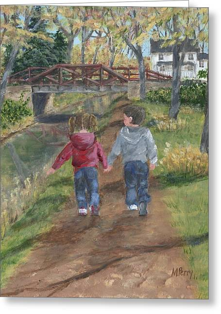A Walk Along The Canal Greeting Card