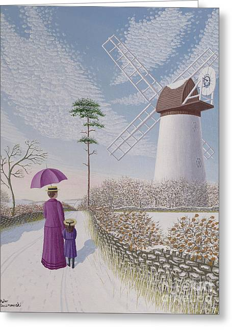 A Walk By The Mill Greeting Card by Peter Szumowski