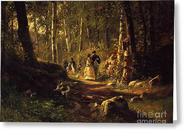 A Walk In A Forest, 1869  Greeting Card by Ivan Ivanovich Shishkin