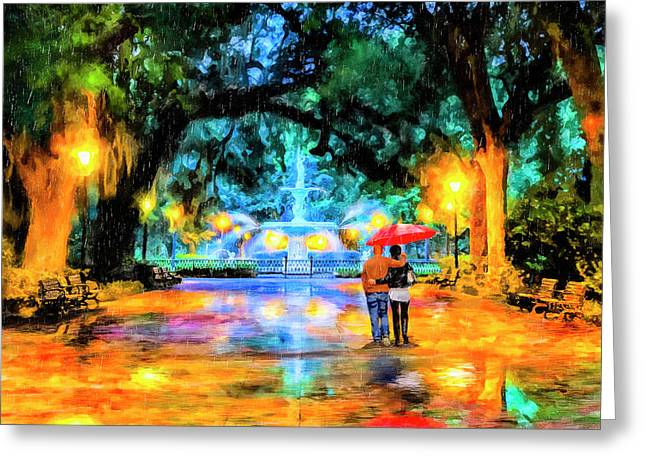 Greeting Card featuring the painting A Walk In Forsyth Park - Savannah by Mark Tisdale