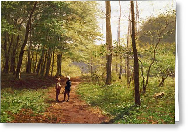 A Walk In The Forest Greeting Card by Niels Christian Hansen