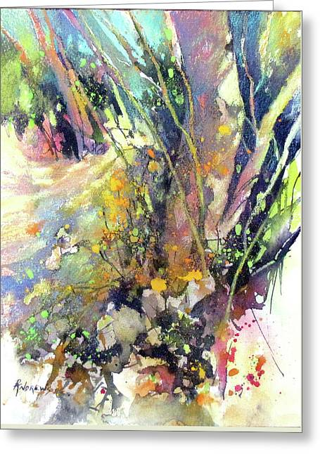 A Walk In The Forest Greeting Card by Rae Andrews