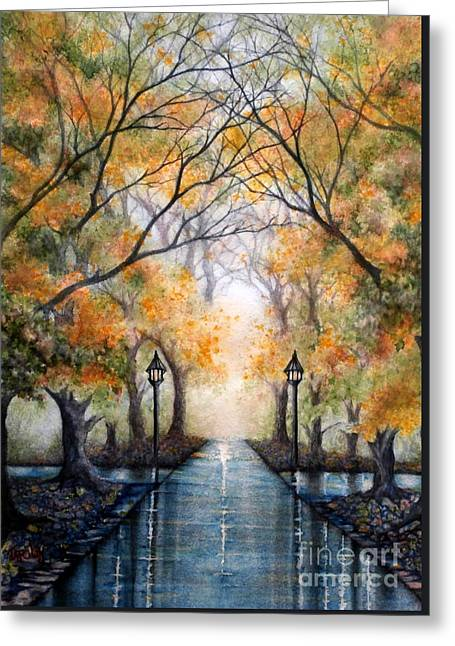 A Walk In The Park - Autumn Greeting Card by Janine Riley