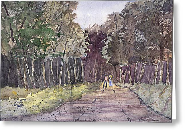 Greeting Card featuring the painting A Walk In The Woods by Barry Jones