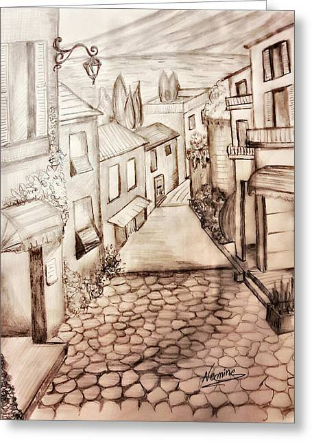 A Walk In Town Greeting Card by Nermine Hanna