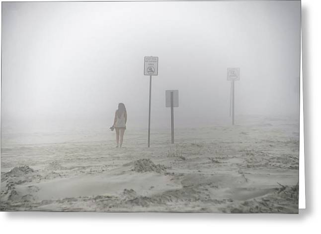 A Walk On A Foggy Beach Greeting Card