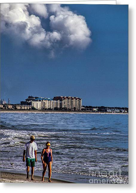 A Walk On The Beach Greeting Card by Dave Bosse
