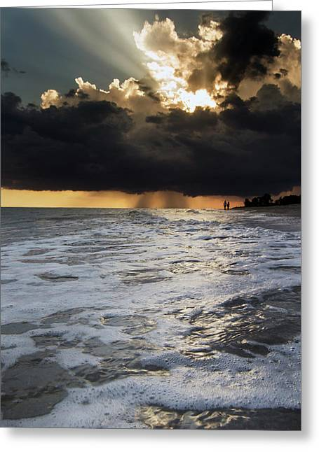 A Walk On The Beach Greeting Card by Greg Mimbs