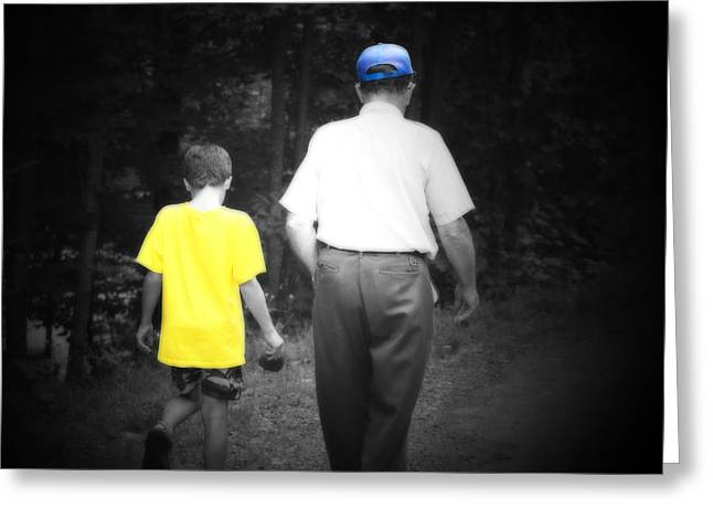 A Walk With Grandpa Greeting Card by Cathy  Beharriell