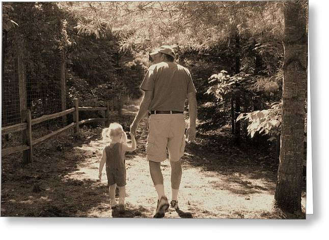 A Walk With Papa Greeting Card by Laurianne Nash