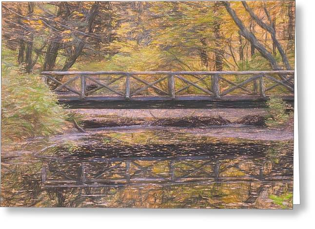 A Walking Bridge Reflection On Peaceful Flowing Water. Greeting Card