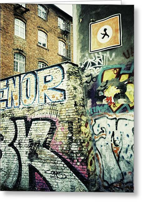 A Wall Of Berlin With Graffiti Greeting Card