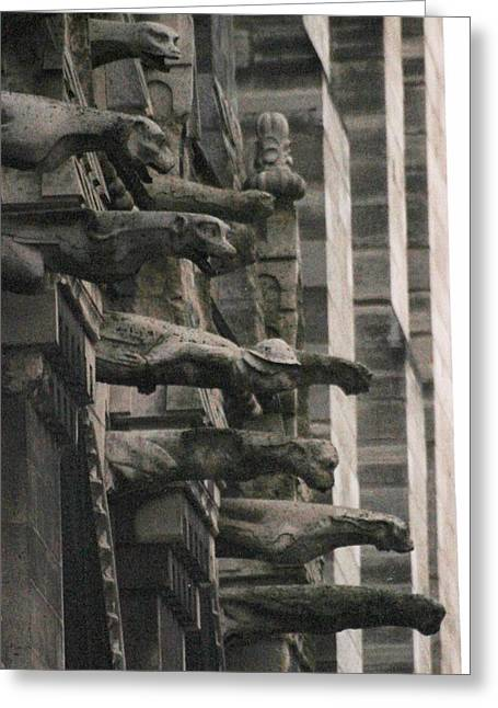 Greeting Card featuring the photograph A Wall Of Gargoyles Notre Dame Cathedral by Christopher Kirby